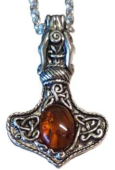 Thor's Hammer With Amber