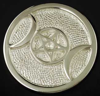 Silver Plated Brass Triple Moon Altar Tile 3 1-2""
