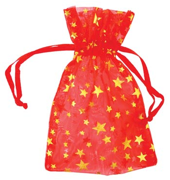 "2 3-4"" X 3"" Red Organza Pouch With Gold Stars"