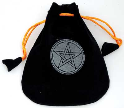 Pentagram Velveteen Black Bag  5""