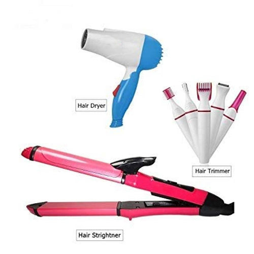 Combo Of Hair Dryer, 2-In-1 Hair Straightener & Trimmer (Pack Of 3)