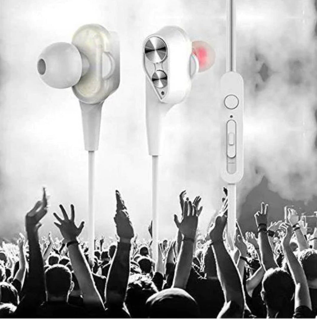 FLOZUM  Boom 2 Four Speaker Perfumed Wired High Quality Earphone With Mic (White Color)
