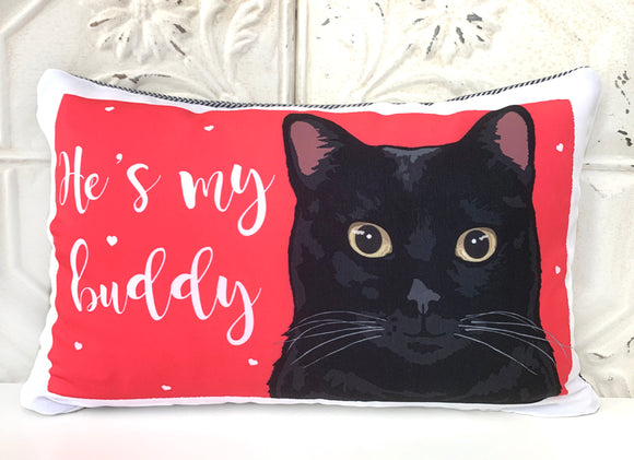 Cat Art Pillow - He's My Buddy