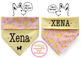Personalized Stylish  Reversible Dog Bandana (Lovely Lemon)