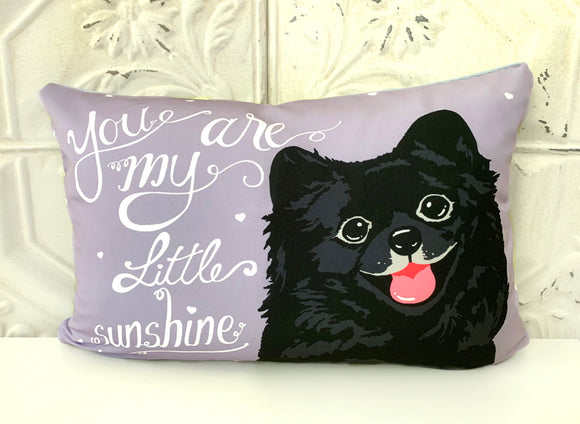 Pomeranian Art Pillow - You Are My Little Sunshine