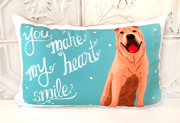 Shar Pei Art Pillow - You Make My Heart Smile
