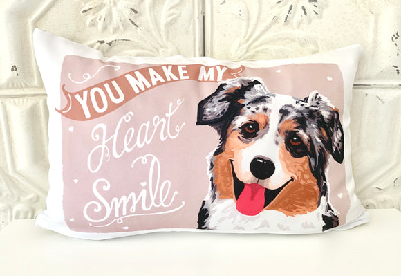 Australian Shepherd Art Pillow - You Make My Heart Smile