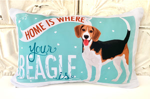 Beagle Art Pillow - Home is Where Your Beagle Is