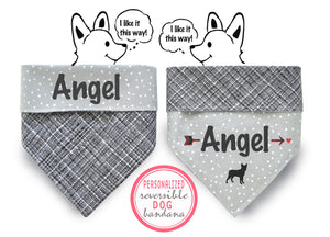 Personalized Stylish  Reversible Dog Bandana (Midnight)