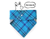 Personalized Stylish Reversible Flannel Dog Bandana (Blue over you)
