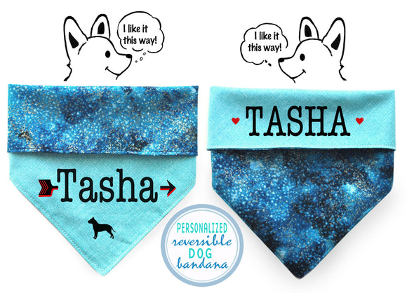Personalized Stylish Reversible Dog Bandana (Blue Galaxy)