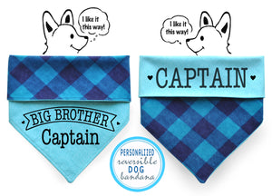 Personalized Stylish  Reversible Dog Bandana (Blue Plaid)