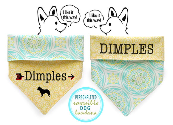 Personalized Stylish  Reversible Dog Bandana (Bloom in June)