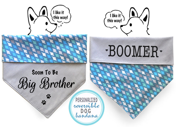 Personalized Stylish  Reversible Dog Bandana (Ocean Love)