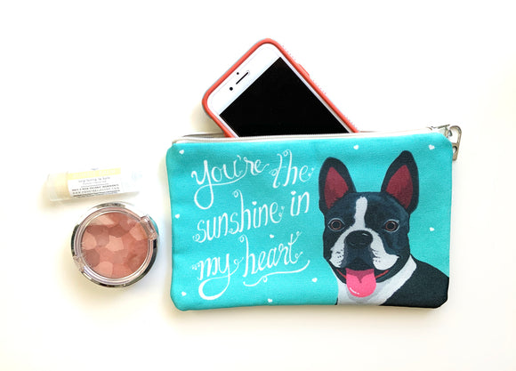 Boston Terrier Art Pouch- You're The Sunshine In My Heart