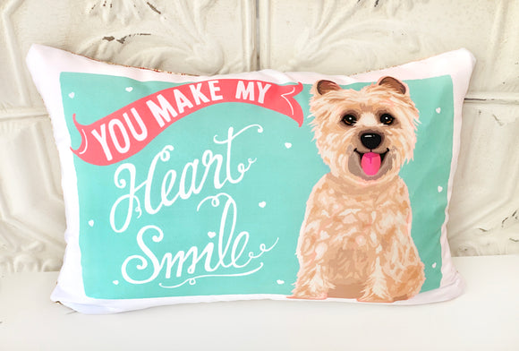 Cairn Terrier Art Pillow - You Make My Heart Smile