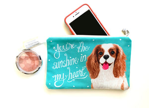 Cavalier King Charles Spaniel Art Pouch- You're The Sunshine In My Heart