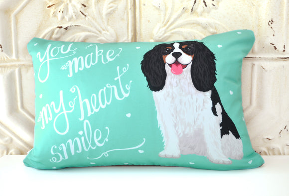 Cavalier King Charles Spaniel Art Pillow - You Make My Heart Smile