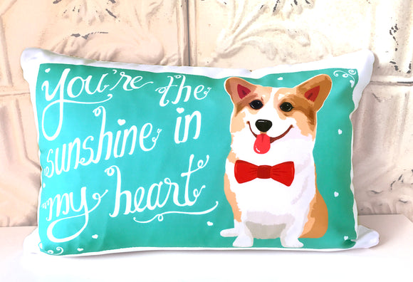 Corgi Art Pillow - You're The Sunshine In My Heart