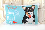 Corgi (Cardigan Welsh ) Art Pillow - Corgi Smiles Melt My Heart