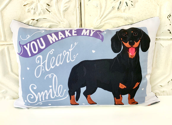 Dachshund Art Pillow - You Make My Heart Smile