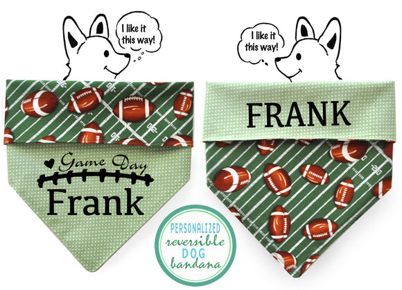 Personalized Stylish  Reversible Dog Bandana (Game Day)