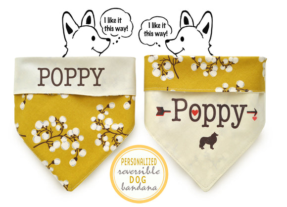 Personalized Stylish  Reversible Dog Bandana (Blooming Blossoms)