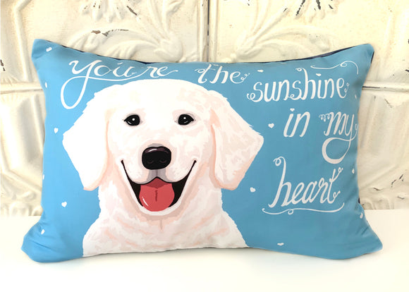 Golden Retriever Art Pillow - You're The Sunshine In My Heart