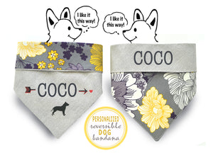 Personalized Stylish  Reversible Dog Bandana (Modern blossoms)