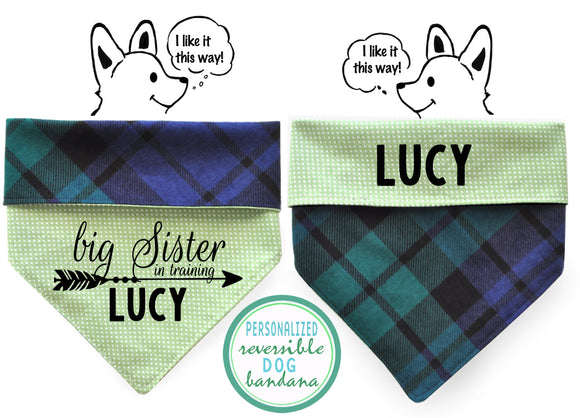 Personalized Stylish  Reversible Dog Bandana (Forest Flannel)