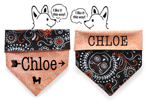 Personalized Stylish  Reversible Dog Bandana (Skulls fall)