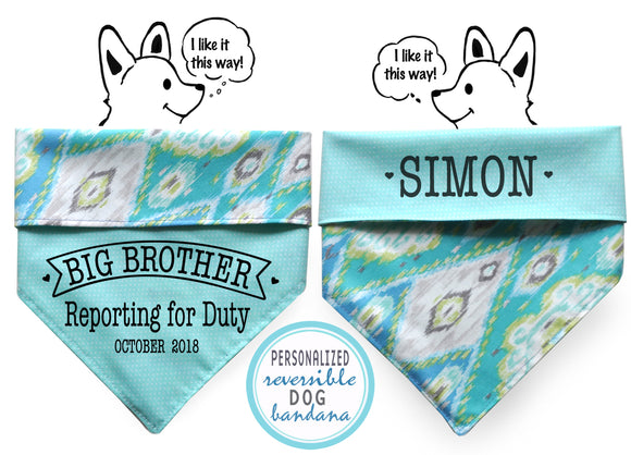 Personalized Stylish  Reversible Dog Bandana (Ocean Tides)
