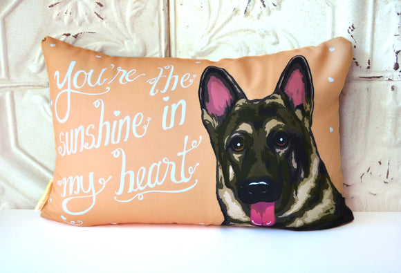 German Shepherd Art Pillow- You're The Sunshine In My Heart