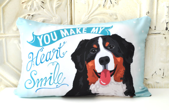 Bernese Mountain Dog Art Pillow -You Make My Heart Smile