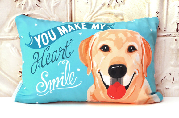 Labrador Art pillow - You Make My Heart Smile