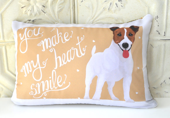 Jack Russell Art Pillow - You Make My Heart Smile