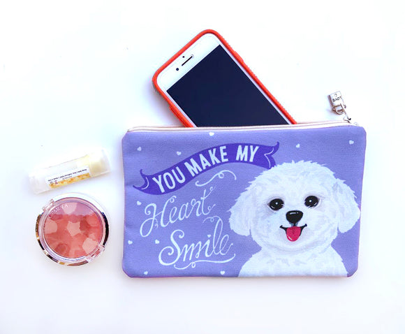 Maltese Art Pouch- You Make My Heart Smile