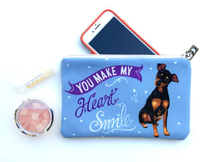 Mini Pincher Art Pouch- You Make My Heart Smile