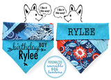 Personalized Stylish  Reversible Dog Bandana (Ocean Treasure)