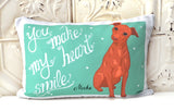 Mini Pincher art Pillow - You Make My Heart Smile