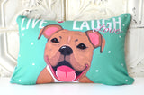 Pitbull Art Pillow - Live, Laugh, Love
