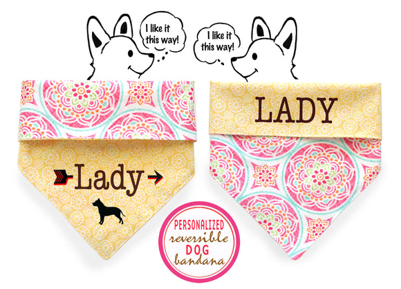 Personalized Stylish  Reversible Dog Bandana (Mosaic Master)