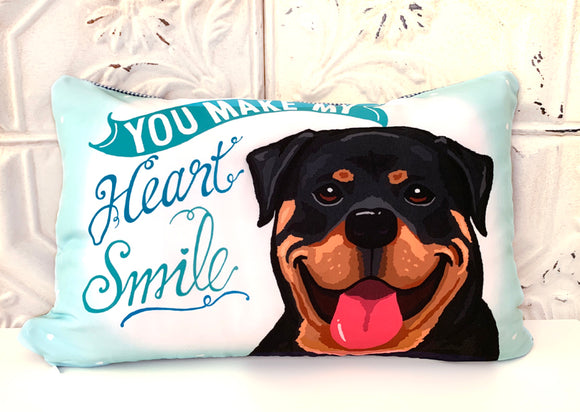 Rottweiler Art Pillow - You Make My Heart Smile