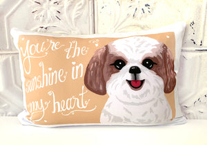 Shih Tzu Art Pillow - You're The Sunshine In My Heart