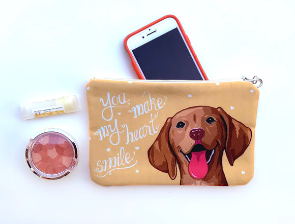 Vizsla Art Pouch- You Make My Heart Smile