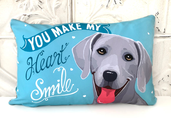Weimaraner Art Pillow - You Make My Heart Smile