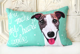 Whippet Art Pillow - You Make My Heart Smile