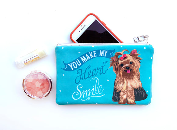 Yorkie Art Pouch- You Make My Heart Smile