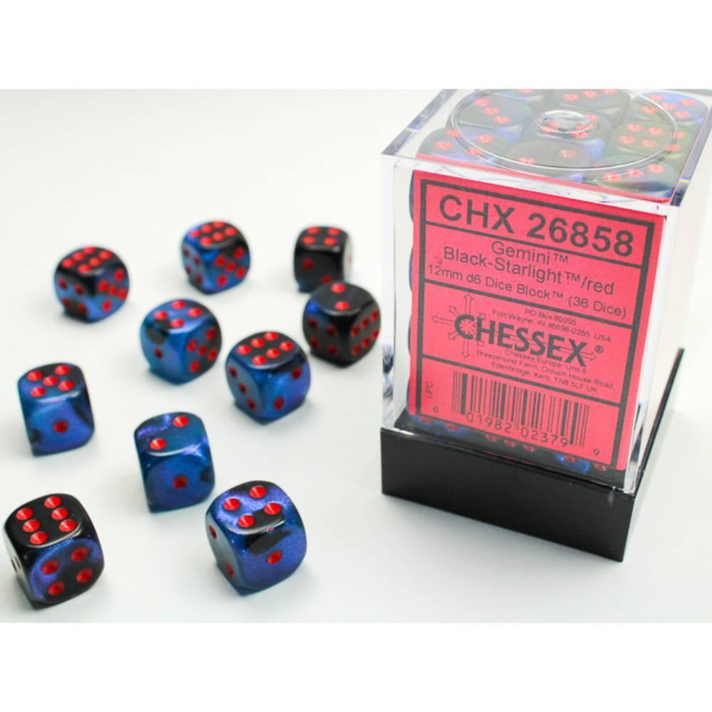 Chessex Gemini Black-Starlight w/Red - The Haunted Game Cafe