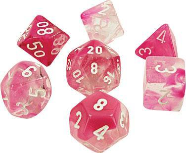 Chessex Gemini Luminary Clear-Pink w/White Polyhedral Dice Set (7)